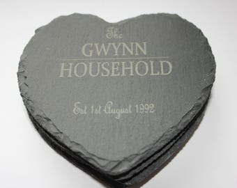 Personalised Household Set of 4 Slate Coasters