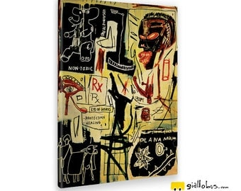 Modern paintings-Jean Michel Basquiat-Eye Of Horus-Yellow BUS