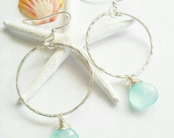 SP Chalcedony briolette hoops