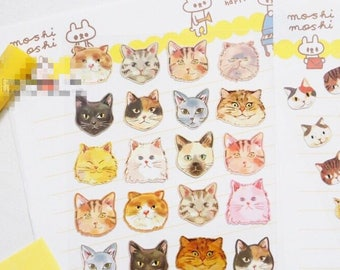 Faces of cats sticker sheet x 1
