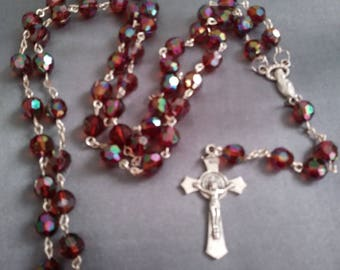 Brown rosary. Prayer beads. Acrylic faceted round beads
