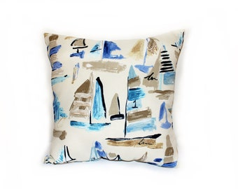 17 x 17 Throw Pillow with abstract sailboats