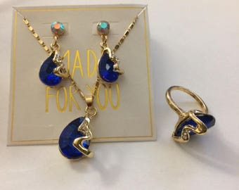 Gold Necklace, Earrings, and size 7 set