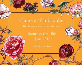Save The Date Cards in Ochre Peony