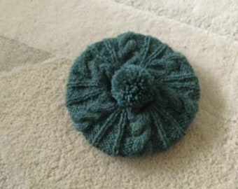 Hand knitted girls beret with pompom