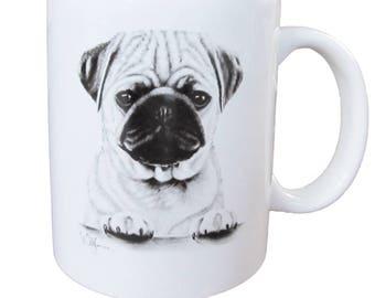Cup Pug-white ceramic coffee mug with black print
