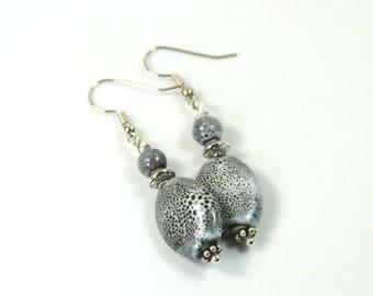 Gray earrings, Ceramic earrings, Stone earrings, long earrings, Hanging earrings, Silver earrings