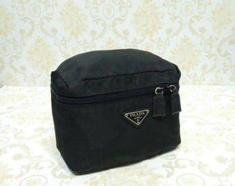 Authentic Vintage Prada Milano Black Nylon Cosmetic Pouch Case