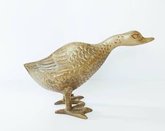 Vintage Brass Goose // Mid-Century Modern Brass Animal // Brass Duck