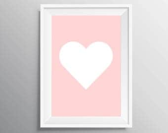 Pink heart print, Nursery print, Love print, Heart print, Girl nursery decor, Instant download, baby shower gift, Baby shower present