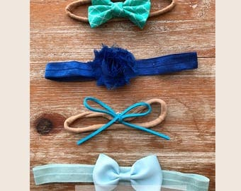 Set of 4 Live Fancy Hand-Made Baby Toddler Headbands | No Mark | Color Theme Options