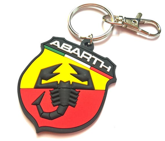 Fiat 500 Abarth keychain with Scorpion logo rubber high