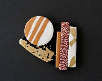 "BROOCH #1 ""Dunes"" polymer clay art Jewel"