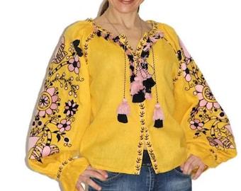 Boho Ukrainian Embroidery Vyshyvanka Blouse Vishivanka Custom Boho Clothing Bohemian Ethnic Ukraine Folk style Embroidery Blouses