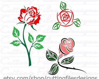 Roses SVG Cutting File w/PNG - for Cricut Design Space and Silhouette Studio - Commercial use