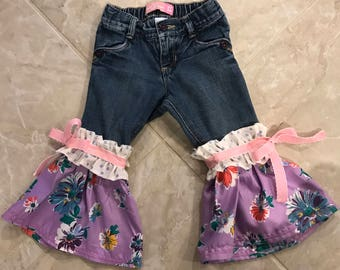 Girls 2T Upcycled Bell bottom Pants