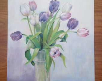 Flower Painting. Tulips. Original Acrylic Painting Of Tulips In A Glass Vase.
