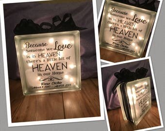 Someone We Love is In Heaven Lighted Glass Block