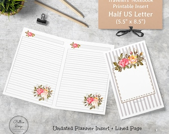 Lined Planner Inserts, Half Letter TN Printable, Half Size Planner Printables, Lined Inserts, Notebook Printable, Planner Refill 5.5 x 8.5