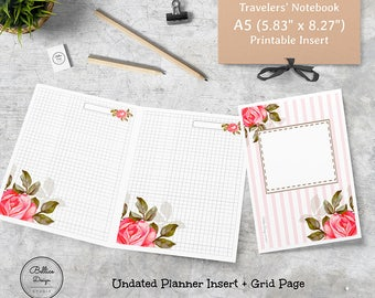 Grid Digital Paper, Grid Planner Insert, A5 Printable Travelers Notebook, A5 Grid Paper, A5 TN Planner Inserts, Girls Planner, A5 Inserts