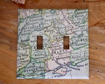 Recycled Map Switch Plate