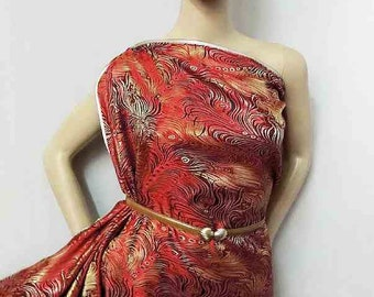 Asian Chinese brocade satin fabric material red gold dancing feather embroidered by the 0.5 YARDS, Yards Meters cbs 65