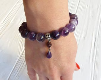 Amethyst Garnet bracelet Protection Cleans Cleansing Balancing Calming Insomnia Sobriety Spiritual 7th chakra jewelry bracelet gift for her
