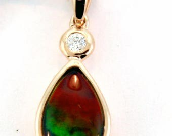 14K White Gold Canadian Ammolite Pendant with Diamond