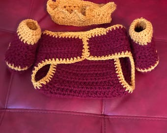 Burgundy & Gold Diaper Cover With Crown  And Booties
