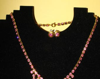 Gemstone pink earrings and necklace Vintage