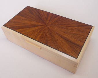 Handmade Wooden jewellery Box - Solid Sycamore/Rosewood veneer.