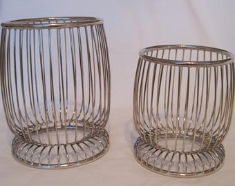 Mid Century Modern Silverplate Set of Two Wire Candle Holders