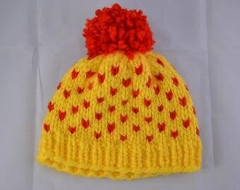 Bonnet jaune et rouge avec Pom Pom | Fair Isle