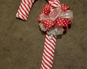Striped Ribbon Candy Cane Wreath