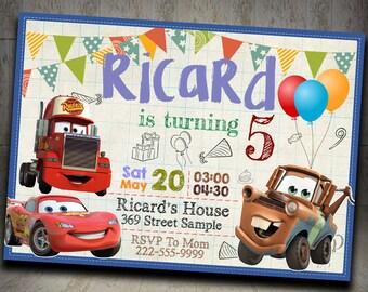Disney Cars Invitation, Disney Cars Birthday invitation, Cars Birthday, Disney Cars Party Invitation,Cars invitation,Cars Party,Cars Invite