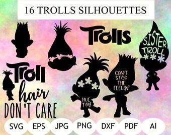 16 Trolls Silhouette, Trolls Clipart, Trolls SVG, Trolls DXF, Trolls PNG, Trolls Printable