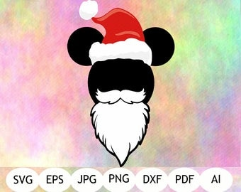 Mickey Christmas SVG, Mickey Santa Hat SVG, DXF, Png, Vector Cut File, Mickey Christmas Hat Printable, Digital File, Instant Download