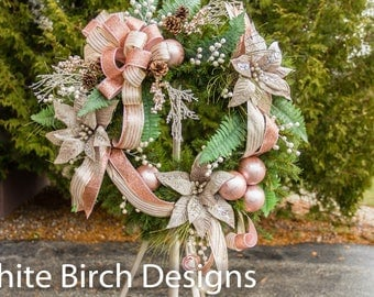 Christmas Wreath, Christmas Wreath for Front Door, Rose Gold Wreath, Wreath with Ornaments, Christmas Decor, Holiday Wreath for Front Door
