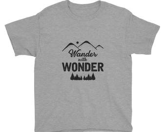 "Youth Short Sleeve ""Wander with Wonder"" Tee"