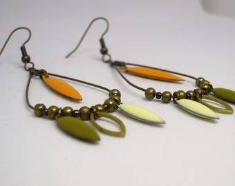 Mustard yellow/white, handmade/gift women / §µ§ dark/khaki/dangling/shuttle/geometric/bronze/made drop earrings