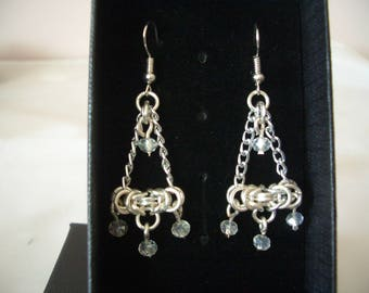 Silver plated AB crystal chainmaille earrings