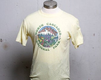 Vintage 80's North Cascades National Park T Shirt Yellow Soft! M