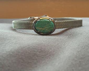 Mesh Buckle Bracelet with Amazonite Gemstone