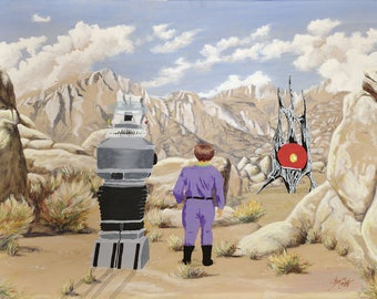 """An Art Parody Called """"Danger Will Robinson!"""" Classic Sofa Painting Recycled Thrift Store Art Lost in Space"""