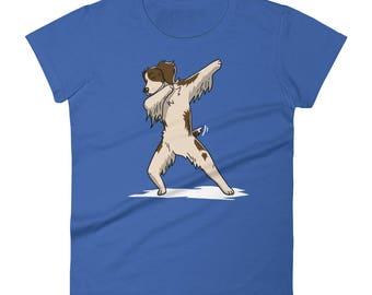 Funny Dabbing Brittany Spaniel Women's T-Shirt, Cute Dab Dance Dog Gift