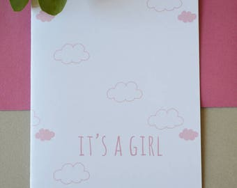 Clouds card It's a girl