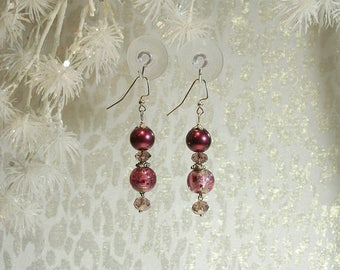 Multi-faceted Bling Beads. Winter Berry Pearls. Glass Foil Beads.  Silver Finish French Hooks and Findings. Nickle Free. Approx. 2.5 long.