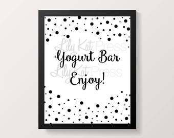 INSTANT DOWNLOAD** Yogurt Bar Print - Bridal Shower, Wedding Shower