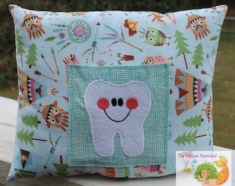 Owl/Teepee/Feather Tooth Fairy Pillow // Kids Tooth Pillow // Tooth Fairy Pillow // Camping Pillow