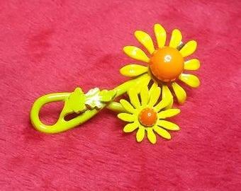Vintage Enameled Yellow Flower Brooch